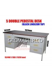 "GM 5"" DOUBLE PENDESTAL DESK ( STEEL TABLE) - MELAMINE CHIPBOARD TOP"