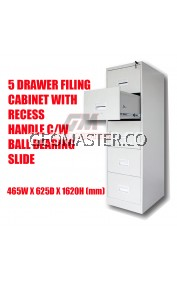 5 DRAWER FILING CABINET WITH RECESS HANDLE C/W BALL BEARING SLIDE