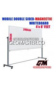 4 X 8 DOUBLE SIDED MAGNECTIC WHITEBOARD WITH STAND (120CM X 150CM) WHITE BOARD WITH STAND