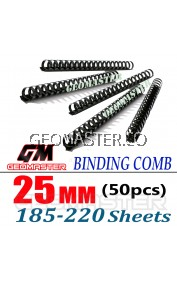 Comb Binder Rings / Plastic Comb Rings / Binding Rings / Binding Comb Rings 25mm Black - 50Pcs/Box