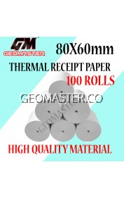 Thermal Paper Receipt Rolls Receipt Paper Cash Register Receipt Kertas Resit Cashier Kertas Printer 80X60MM -100 ROLLS