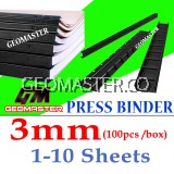 3mm Press Binder / Binding Strip / Lock Binder / Press Binding Comb / Binder Strip Black