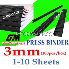 3mm Press Binder / Binding Strip / Lock Binder / Press Binding Comb / Binder Strip Black