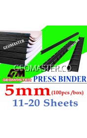 5mm Press Binder / Binding Strip / Lock Binder / Press Binding Comb / Binder Strip Black
