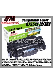 Laser Toner HP Compatible Q7551X / 51X / Q7551A / 51A High Yield Compatible Toner Cartridge For Laserjet P3005 / P3005d / P3005n / P3005dn / P3005x / M3035 / M3035xs / M3027 / M3027x / M3035 / M3035xs / M3027 / M3027x Printer Toner