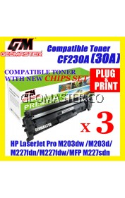 3 UNIT Compatible HP CF230A(30A)(1.6K)Toner Cartridge For HP LaserJet Pro M203dn Printer/HP LaserJet Pro M203dw Printer/M203d HP LaserJet Pro MFP M227fdn/ HP LaserJet Pro MFP M227fdw/HP LaserJet Pro MFP M227sdn