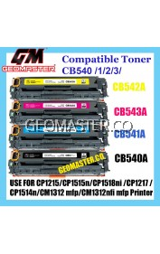 Compatible CB540A CB541A CB542A CB543A 125A CMYK Set Laser Toner Cartridge For Use In HP Color LaserJet CP1213 / CP1214 / CP1215 / CP1216 / CP1217 / CP1513n / CP1514n / CP1515n / CP1516n / CP1517ni / CP1518ni / CP1519ni CB540 540A 541A 542A 543A