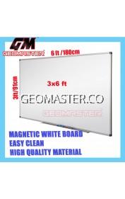 HIGH QUALITY Magnetic White Board WHITEBOARD (90cm x 180 cm)-  3 x 6 ruler