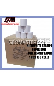HIGH WHITE CASH REGISTER PAPER ROLL , RECEIPT PAPER 57X60X12mm