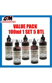 Refill Ink Dye Black 100ml x 5 Universal For Brother / Canon / Epson / HP (Value Pack) + FREE Cyber Clean