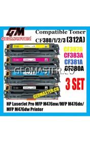 3 SET Colour Laser Toner HP Compatible 312A / CF380A + CF381A + CF382A + CF383A High Quality Compatible Tober Cartridge (Full Set 4 Units) For HP LaserJet Pro MFP M476nw / MFP M476dn / MFP M476dw Printer