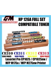 Full Set Compatible HP 126A / CE310A + CE311A + CE312A + CE313A High Quality Compatible Toner Cartridge (1 Set 4 Unit) For LaserJet Pro CP1025 / CP1025nw / MFP M175a / MFP M275nw Printer